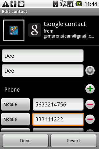 LG Optimus One edit contact