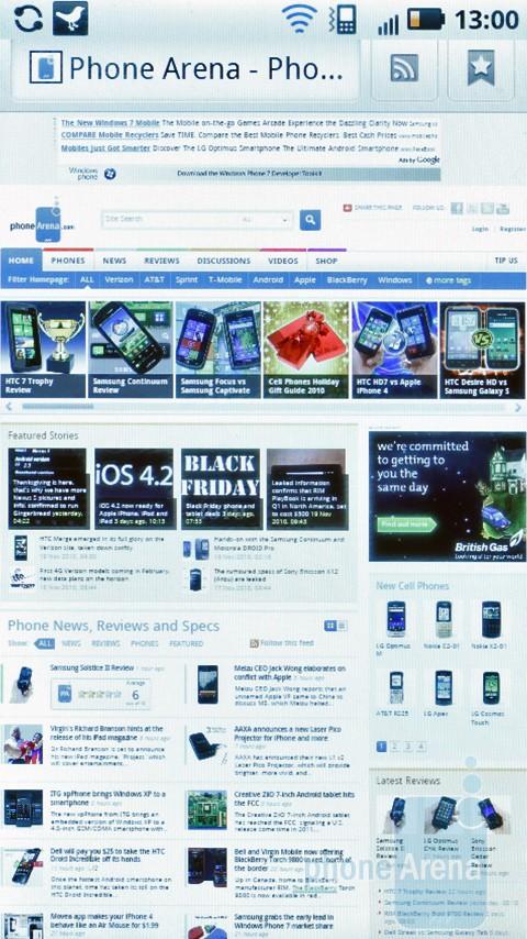 Motorola MILESTONE 2 browser