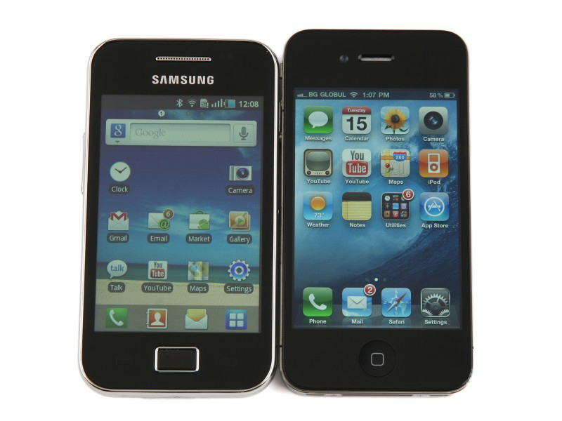 Samsung Galaxy Ace vs iPhone face