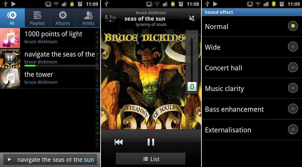 аудиоплеер в Samsung Galaxy S II