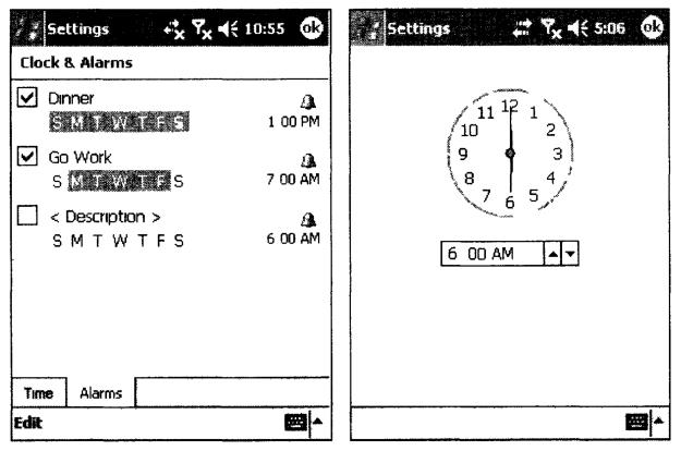 Вкладка настройки будильников и Окно установки времени будильника