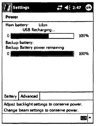 Внешний вид вкладки Battery