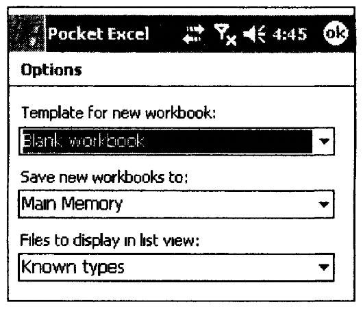 Фрагмент окна настройки программы Pocket Excel