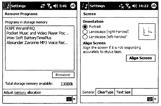 Внешний вид Remove Programs и вкладки General окна Screen