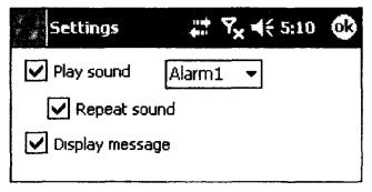 Окно установки типа оповещения