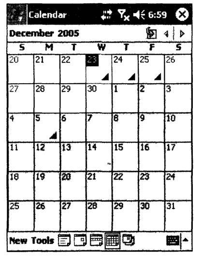 Внешний вид приложения Calendar в режиме просмотра событий за месяц