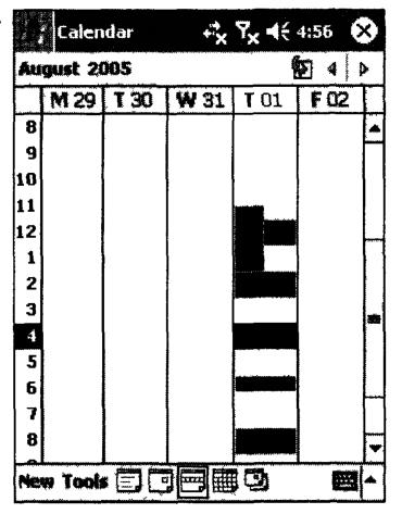 Внешний вид приложения Calendar в режиме просмотра событий за неделю