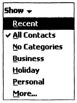Раскрывающийся список выбора категории просматриваемых контактов