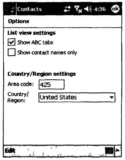 Окно настройки параметров программы Contacts