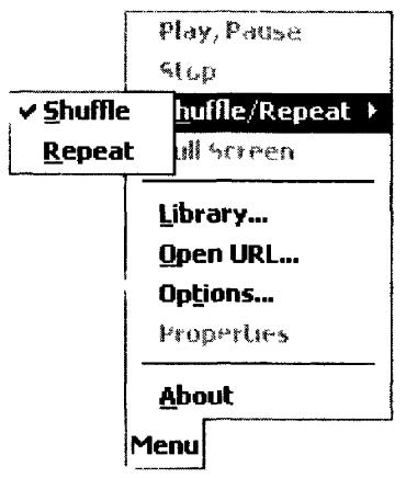 Внешний вид меню программы Windows Media Player