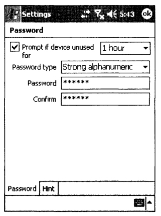 Внешний вид окна Password