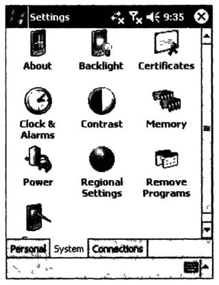 Внешний вид панели системных настроек