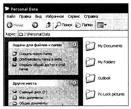 Содержимое папки накопителя Personal Data, которая отображается при обращении к опции Мой JetFlash