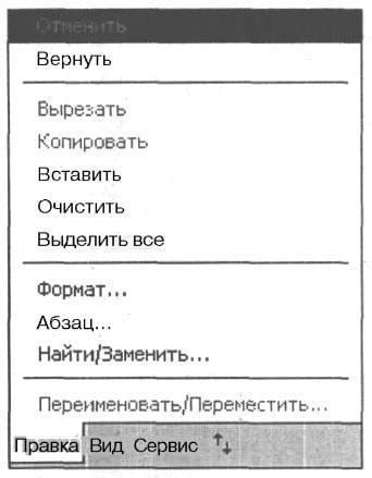 Прикоснитесь к пункту Правка (Edit), чтобы получить доступ к подпунктам меню Правка
