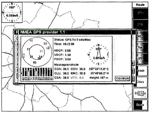 Представление информации с GPS-приемника на экране КПК