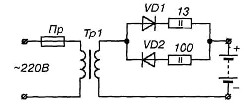 Схема зарядного устройства для восстановления (заряда) гальванических элементов