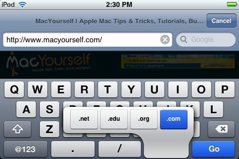 Клавиатура в Safari