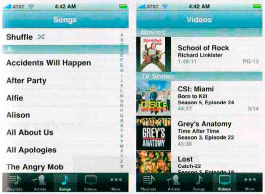 Списки в программе iPod