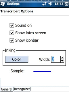 Экран Опции Transcriber (Transcriber Options)