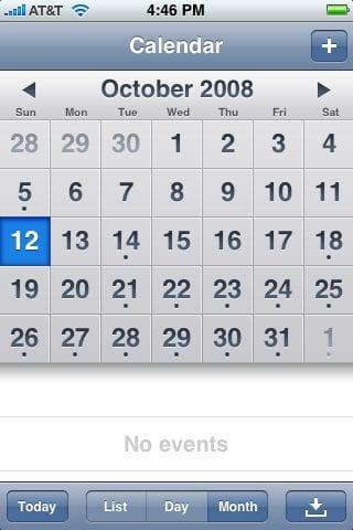 Приложенпие Calendar на iPhone