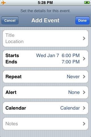 Добавить событие в календарь iPhone