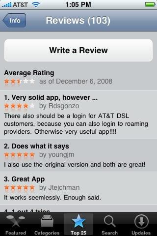 Страница рецензий и оценок приложения  App Store