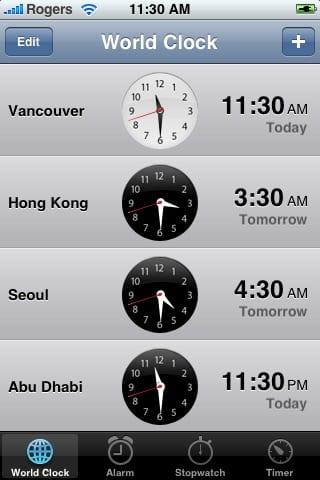 World Clock на iPhone