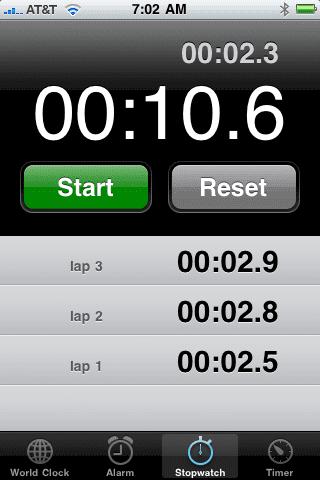 Stopwatch (Секундомер) на iPhone