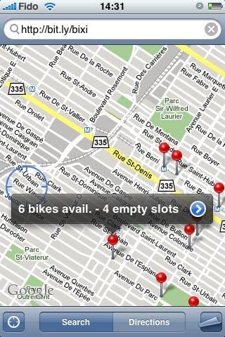 Поиск адресов в программе Maps на iPhone