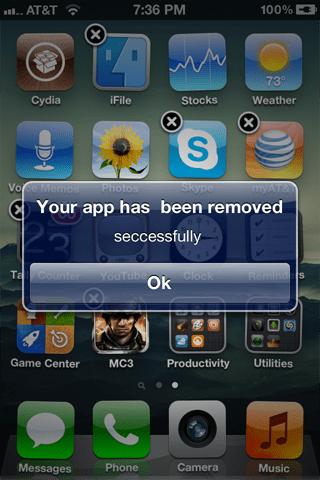 Удаление программы с iPhone