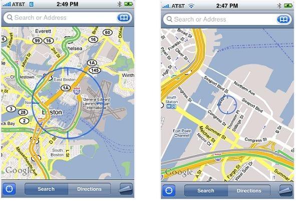 Система определения местонахождения Skyhook в iPhone