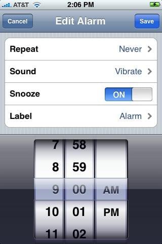 Alarm (Будильник) на iPhone
