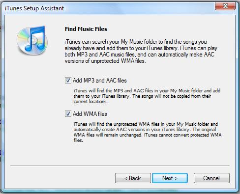 iTunes предлагает провести поиск музыкальных файлов