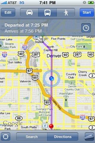 Указание маршрута на iPhone