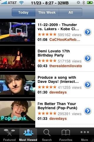 Поиск видеоролика YouTube на iPhone