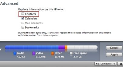 iTunes предлагает опцию forced one way sync