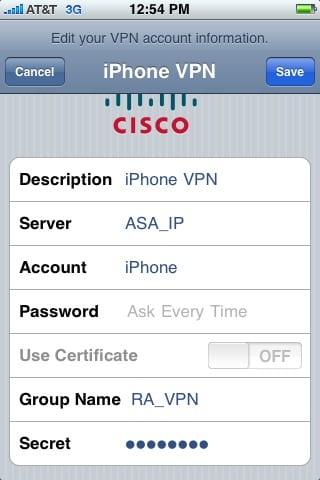 Настройка соединения VPN на iPhone