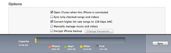 Опциии синхронизации iPhone в iTunes