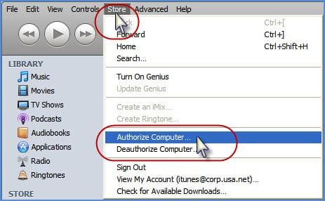 Авторизация компьютеров в iTunes