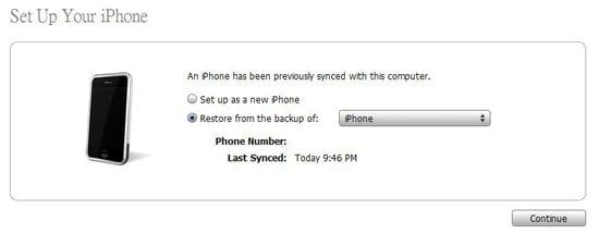 Восстановление резервной копии в iTunes