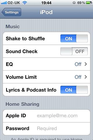 Настройка iPod