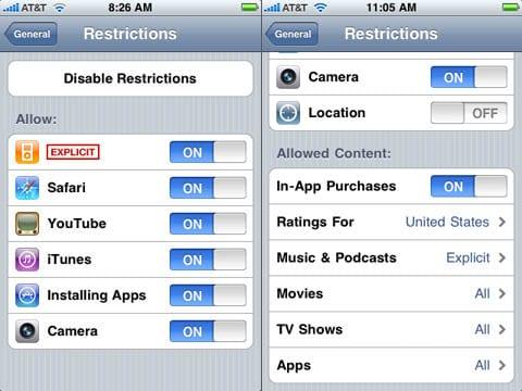 Restrictions (Ограничения)