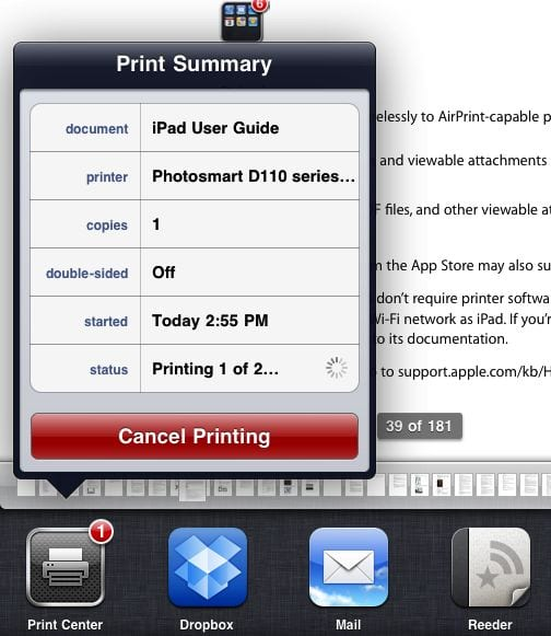 AirPrint Print Center на iPad