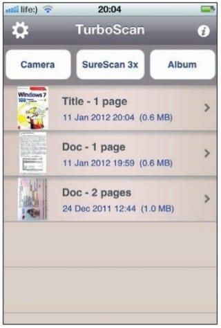 Список готовых документов и варианты создания новых в TurboScan