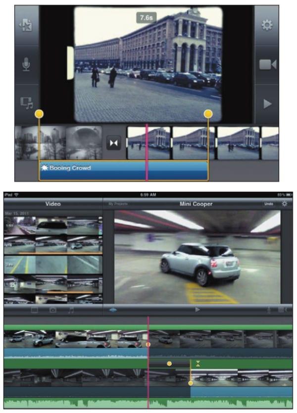 Редактирование видео на экране iPhone (сверху) и iPad (снизу)