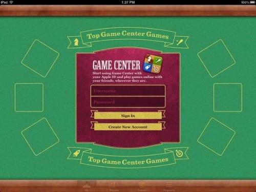 Учетная запись Game Genter на iPad