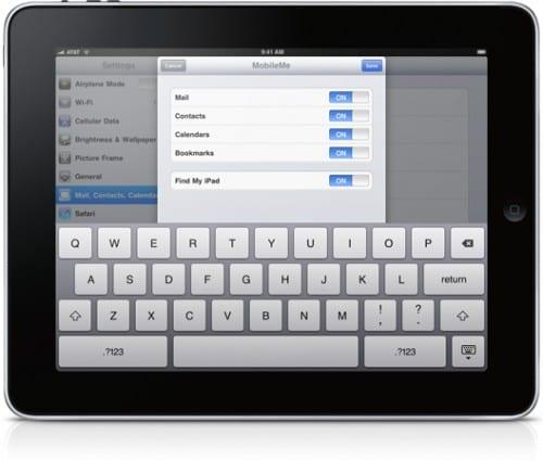 Настройка MobileMe на iPad