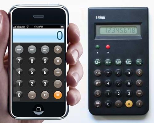 Дизайн калькулятора в iPhone напоминает, калькулятор, который спроектировал для Apple Браун, ученик Рамса.