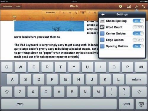 Работа с текстовым документом на экране iPad