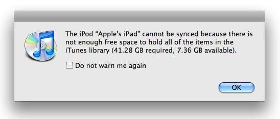 На iPad недостаточно свободного места для синхронизации